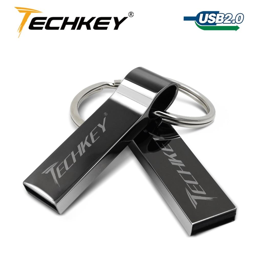 Waterproof Metal Silver Usb Flash Drive 64gb Pen Drive 32GB 16GB 8GB 4GB Pendrive With Key Ring U Disk Memory Disk Usb 2.0