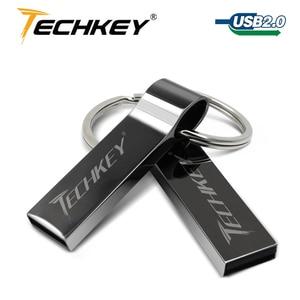 Водонепроницаемый Металл Серебро карту флэш-памяти с интерфейсом usb 64 ГБ Флеш накопитель 32 ГБ 16 ГБ 8 ГБ 4 ГБ флешки с кольцом для ключей u диск ...