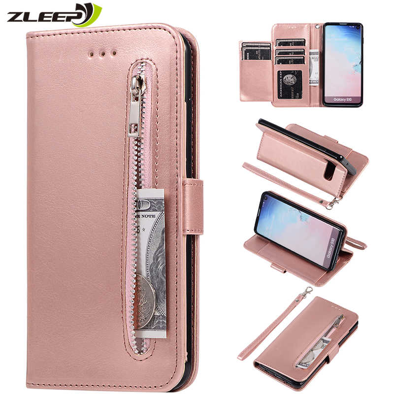 Leather Zipper Flip Note10plus A70 A50 A40 A30 Wallet Case For Samaung Galaxy S10 E S9 S8 Plus S7 Edge Note 8 9 10 Phone Cover