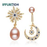 IFFURMON Fine Drop Earrings Sterling 925 Silver Earing Gold Plated Moon Luxury Earrings Long For Women