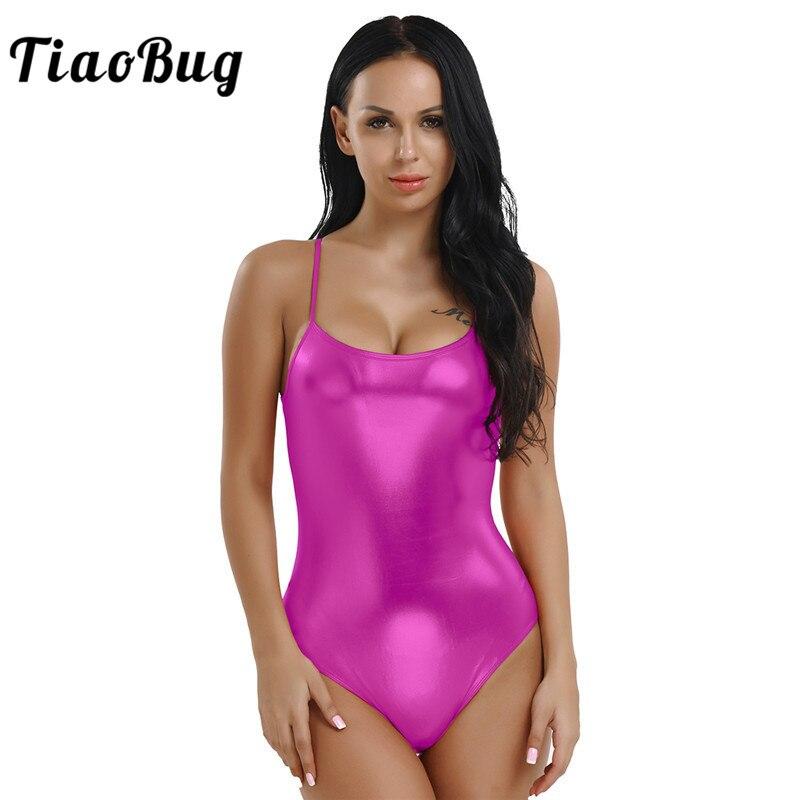 TiaoBug Women Shiny Patent Leather Gymnastics Ballet Leotard Adult Spaghetti Straps One-piece Sports Bodysuit Stage Dance Wear