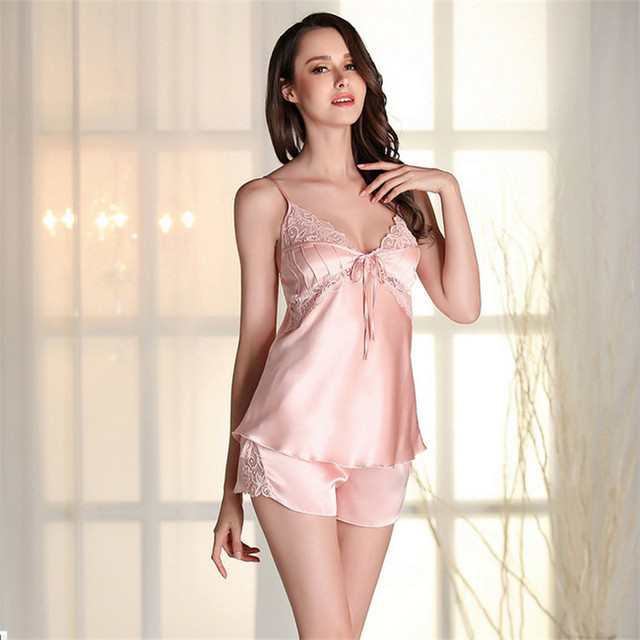 ec6822d661 Factory outlets sexy women pajamas sets real silk Sleeveless nightwear High  quality pyjamas luxury Spaghetti Strap sleepwear