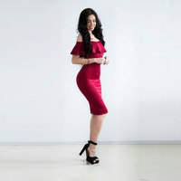 Sisjuly Women Dress New Bodycon Dress Girls Red Off The Shoulder Backless Party Dress Sexy Women