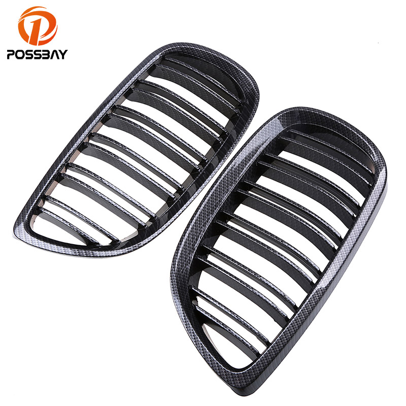 POSSBAY ABS Car Racing Grille for BMW 3-Series E92 Coupe M3 2007/2008-2013 Imitation Carbon Fiber Kidney Grills Front Grilles possbay chrome front hood kidney grilles for bmw x5 e53 3 0d 3 0i 4 4i 4 8is 2003 2007 facelift front bumper center grills
