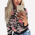 Autumn New Womens Camouflage Bomber Jacket Ladies Stand Collar Long Sleeve Zipper Floral Print Slim Jacket Basic Coat Outwear