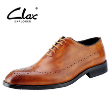 CLAX Men Brogues Shoes Genuine Leather Spring Autumn Male Dress Shoes italian Formal chaussure homme wedding Shoes luxury brand