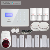 Wireless GSM SMS Home Security Fire Alarm System 3 PIR Sensor 5 Door Contact 2 Smoke