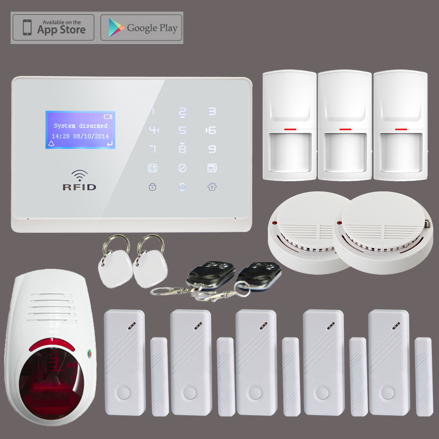 Wireless GSM SMS Home Security Fire Alarm System+3*PIR Sensor+5*Door Contact+2*Smoke Sensor+1*Outdoor Waterproof Strobe Siren fuers wifi gsm sms home alarm system security alarm new wireless pet friendly pir motion detector waterproof strobe siren