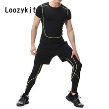 LOOZYKIT Patchwork Men's Running Compression Pants Men Jogging Skinny Sport Long Trousers Large Size Fitness calcas para homen