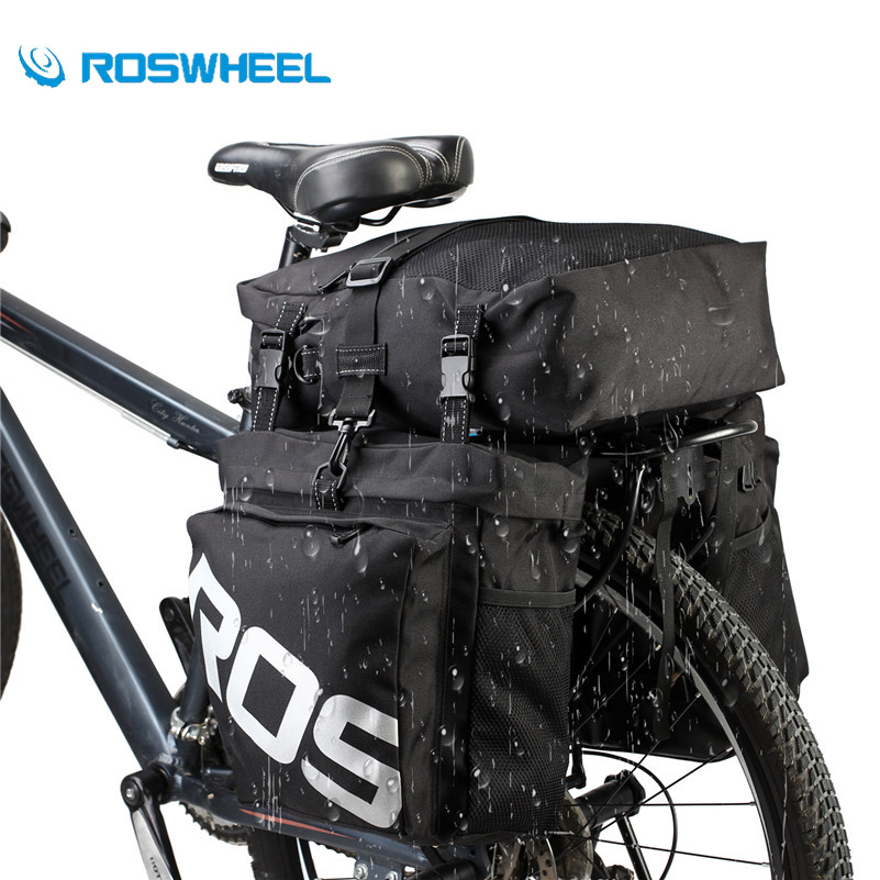 ROSWHEEL Bicycle Carrier Rear Rack Trunk 37L Bike Luggage Back Seat Pannier 3 IN 1 Waterproof Large Capacity Cycling Pannier Bag partol black car roof rack cross bars roof luggage carrier cargo boxes bike rack 45kg 100lbs for honda pilot 2013 2014 2015