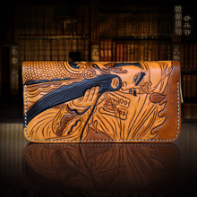 OLG.YAT cowhide handmade men wallets long zipper handbag Italian Vegetable tanned leather Fukatsu Guan Yu Ethnic mens wallet