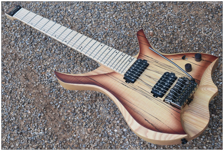 7 Strings Headless Electric Guitar style brown burst spalted curly maple top Flame maple Neck in stock free shipping