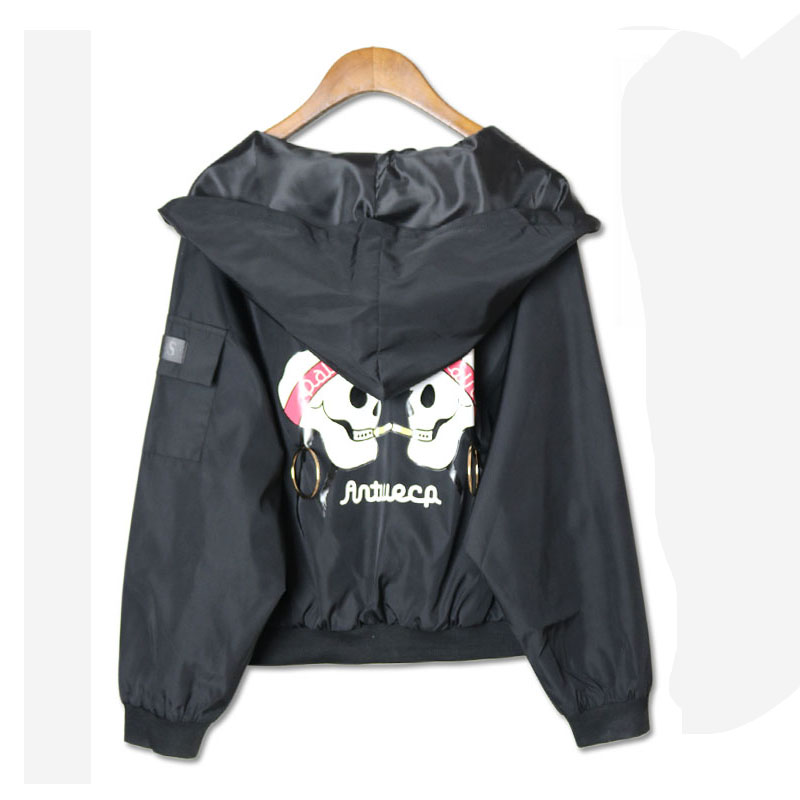Spring   Jacket   Women Pocket Zipper Skull Print Hooded Short Casual   Jacket   Street hip hop section Coat women