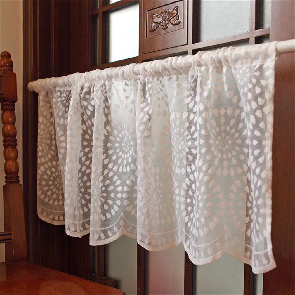 Mediterranean Style Short Coffee Curtain Embroidered