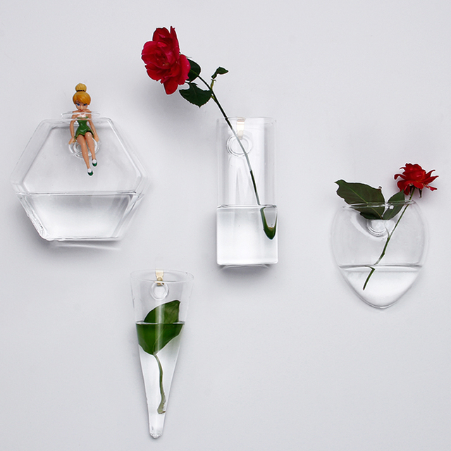 Wall Hanging Vase Home Decor Clear Glass Vase Hydroponic Art Design Flower  Pots For Sale Wholesale