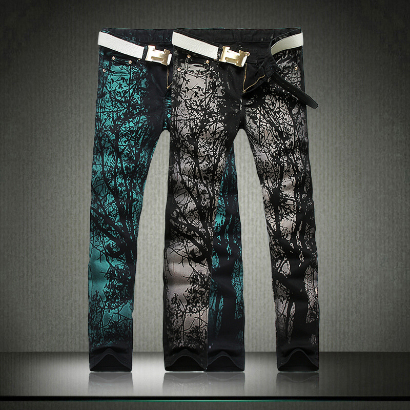 ФОТО Cool Mens Painted Jeans 100% Cotton Clubwear Personality fashion Jeans Men Straight Mens Denim Trousers Mens Printed Jeans