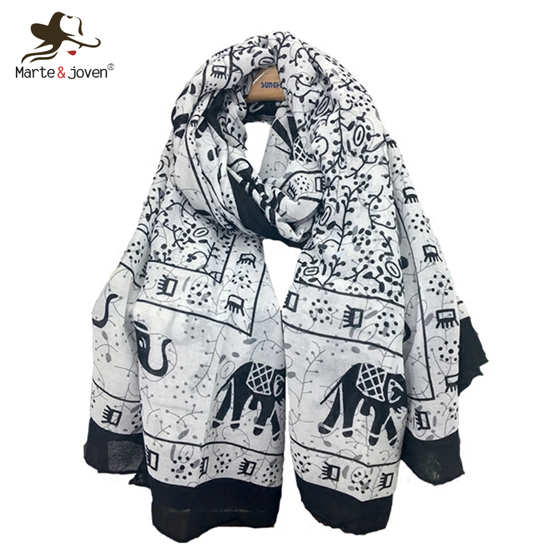 Marte&Joven Lucky Elephant Printing Oversized White   Scarf     Wraps   for Women Fashion Winter Soft Warm Shawls Blanket Pashmina