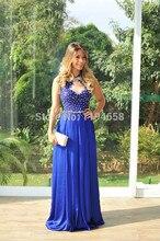 2016 Maß Neueste Sexy Lady Schöne New Fashion Design Elegante Blaue Spitze Perlen Bodenlangen Abendkleid