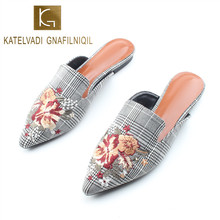 KATELVADI Women Flat Shoes Brand 2019 Fashion Mules For Cotton Fabric Gingham Pointed Toe Slip On Slipper K-409