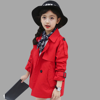 Autumn Children's Coats For Girls England Style Solid Girls Coat Teenage Spring Children's Costume For Girls 4 6 8 10 12 Years
