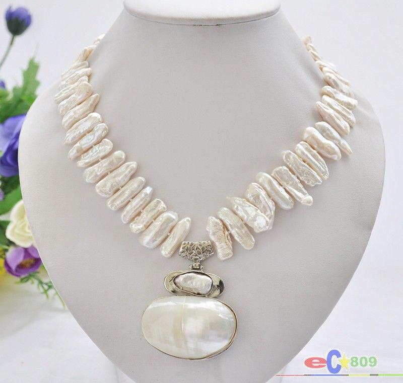 song voge gem nanJ0336 white biwa dens freshwater pearl necklace mabe pendant