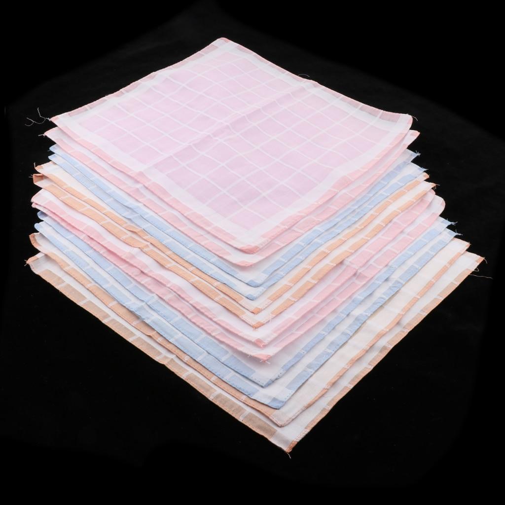 12pcs/set 100% Cotton Square Plaid Handkerchief Hanky Wedding Party Dinner Hankie Sweat Absorb For Men Women Girls Kids Seniors