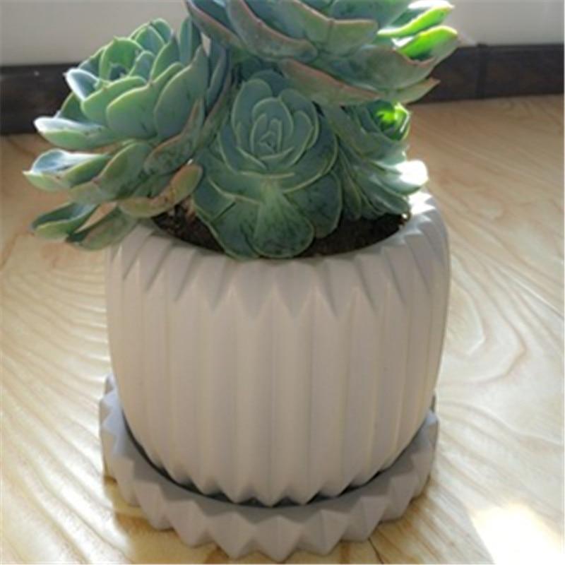 Big Creative Decoration Flower Pot Casting Concrete Mould DIY Home Made Garden Desktop Craft Vase Silicone Cement Planter Mold