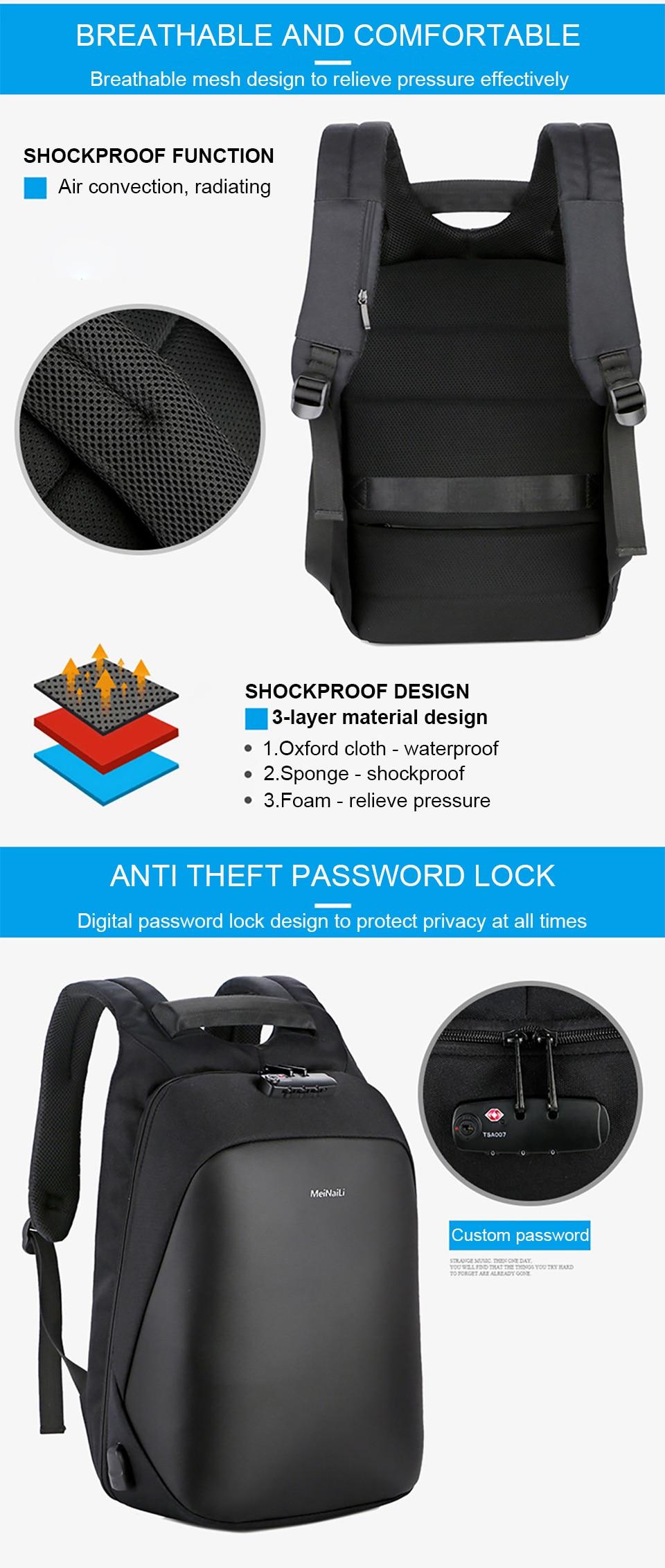 4 Anti-theft Backpack Men Backpacks Laptop 15.6'' Business Travel Luggage Bag Pack Waterproof USB Password Lock Male Backpacking