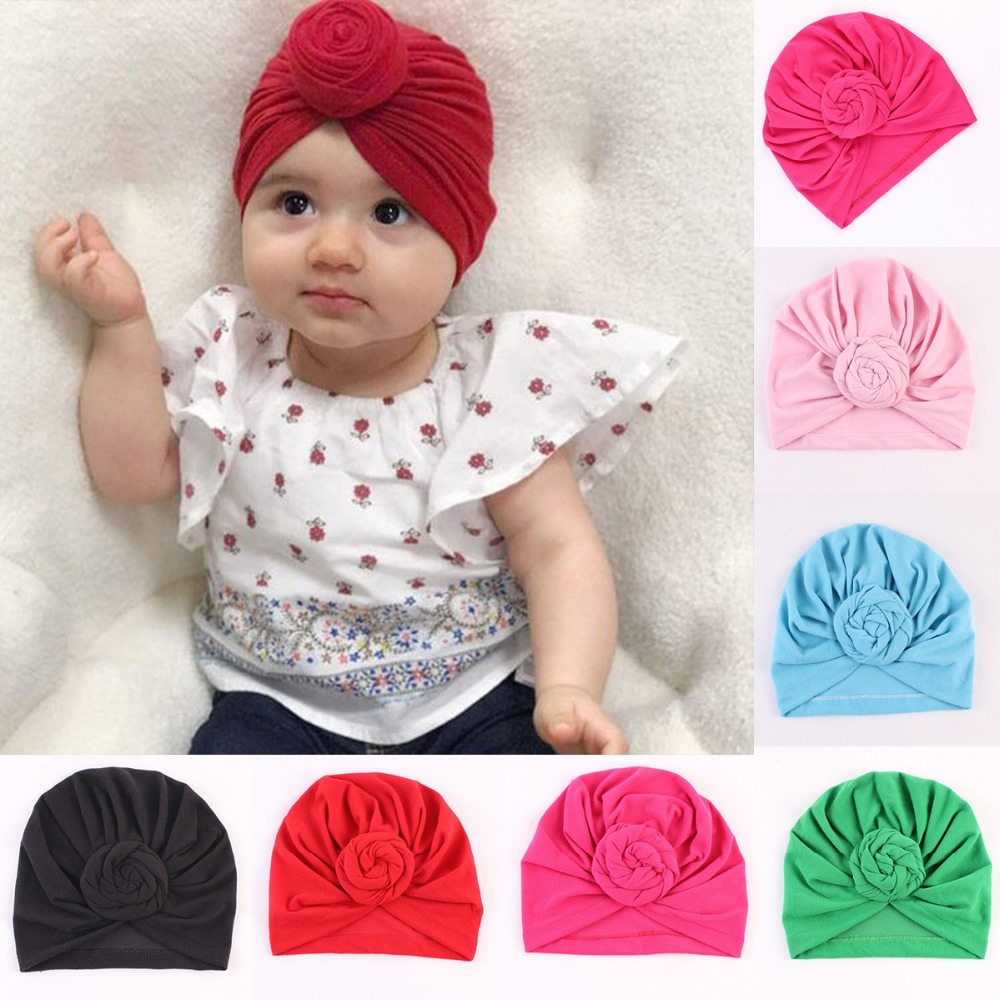 3f79dfb315a540 Puseky Toddler Kids Baby Cotton Soft Turban Knot Hat Candy Color  Stretchable Cap Bohemian Baby Hat Beanie