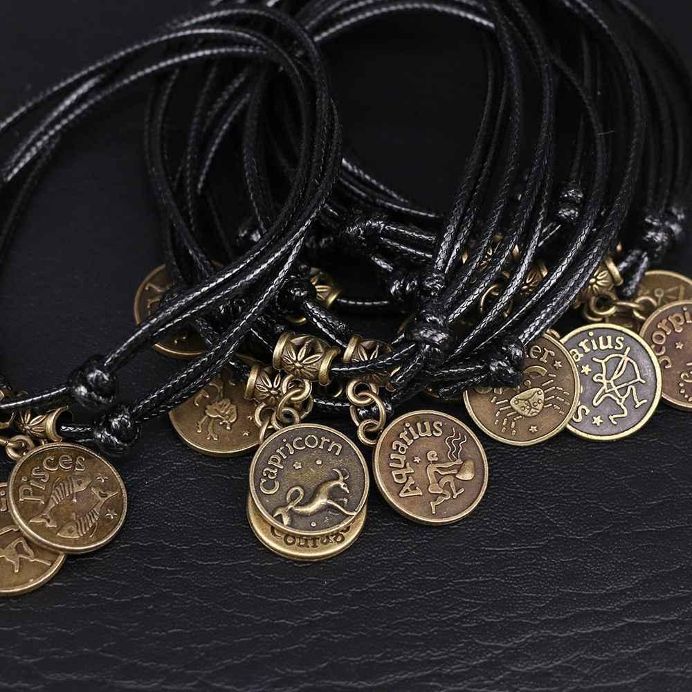 12 konstelacji łańcuszek na kostkę bransoletka kostki czarna lina boso sandały plaża łańcuszek na kostkę osobowość biżuteria dla kobiet mężczyzn prezent 1 Pcs