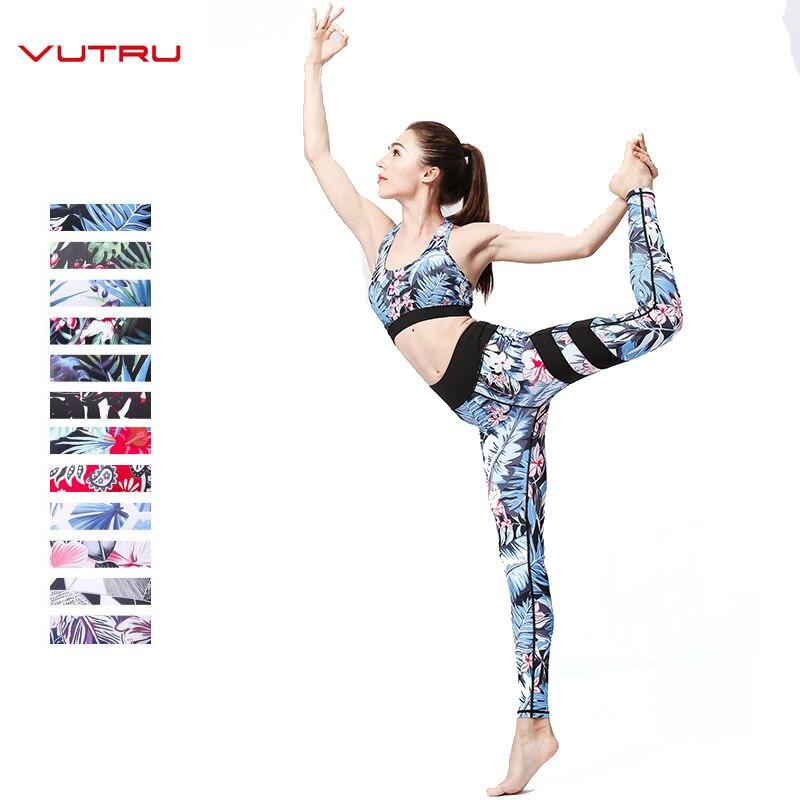 Vutru Women Fitness Clothes Gym Yoga Set Flower Print Tracksuits Crop Top Yoga Bra+Seamless Leggings Pants Patchwork Sportswear