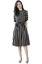 Flying ROC casual knee length women sexy dress half sleeve striped printing summer autumn female slim beach dresses