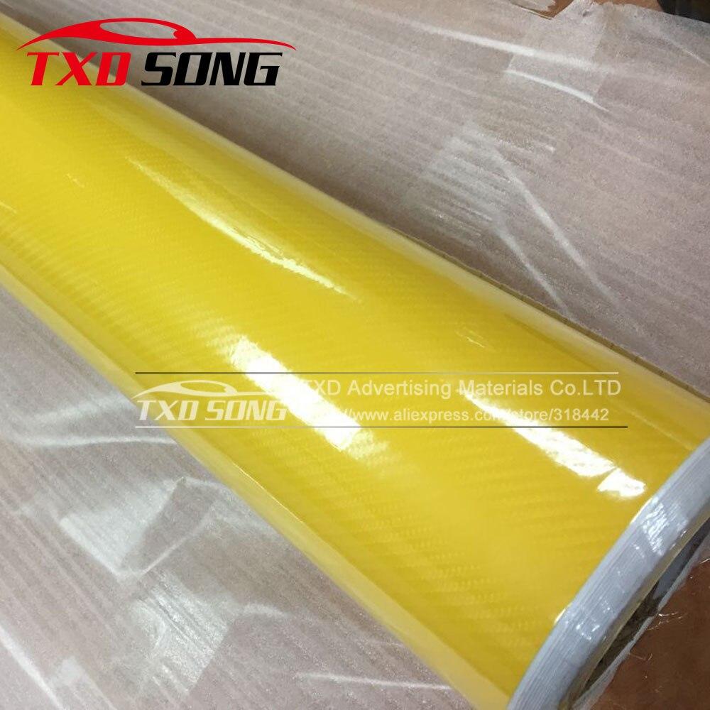 Aliexpress Com Buy Premium High Glossy Yellow 5d Carbon