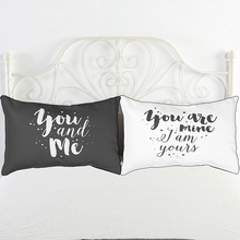 Black White Pillow Case,Valentine's Day/Weddings Decorative Pillow Covers 50*76cm,Couple Bedding Pillow Cases 20x30in