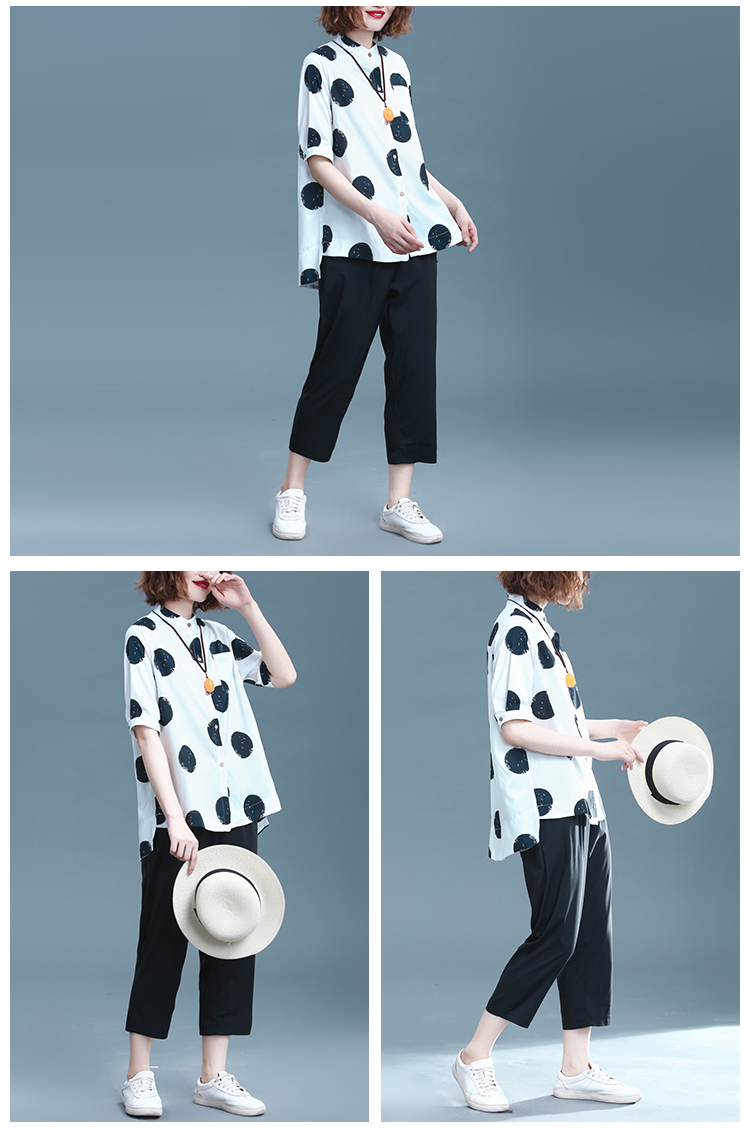 2019 Summer Cotton Linen Two Piece Sets Outfits Women Plus Size Dot Print Shirts And Pants Suits Casual Vintage 2 Piece Sets 39