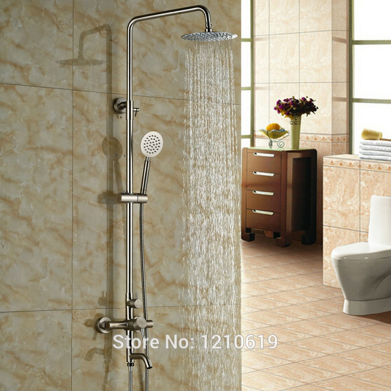 Newly 8 Inch Bath Shower Faucet Set Nickel Brushed Rainfall Shower Mixer Tub Faucet w/ Hand Shower