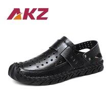 AKZ pria sandal 2018 Musim Panas Pantai sandal jepit sapi Perpecahan kulit Bernapas Cahaya Laki-laki Flat sepatu Rekreasi sepatu Lembut Nyaman