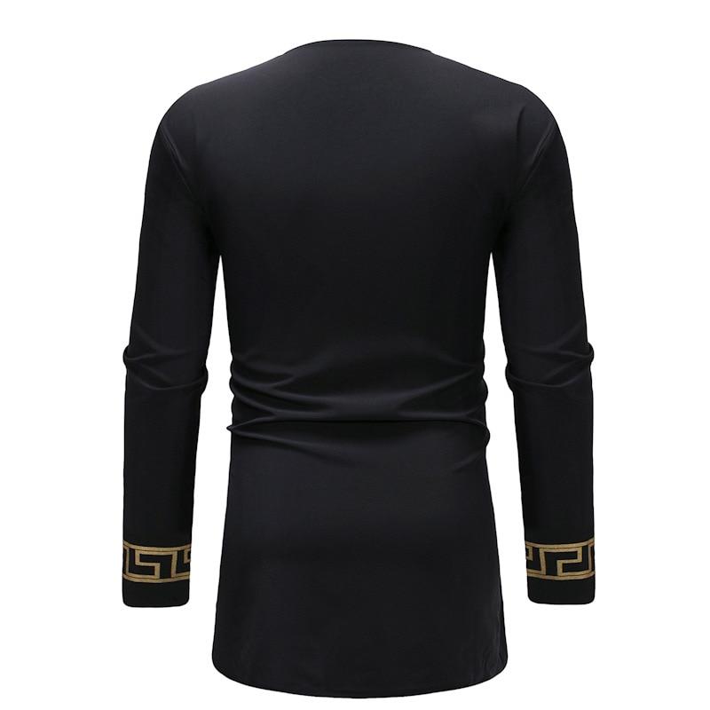 African style man dashiki long-sleeved T-shirt printing men's clothing V-neck design (5)