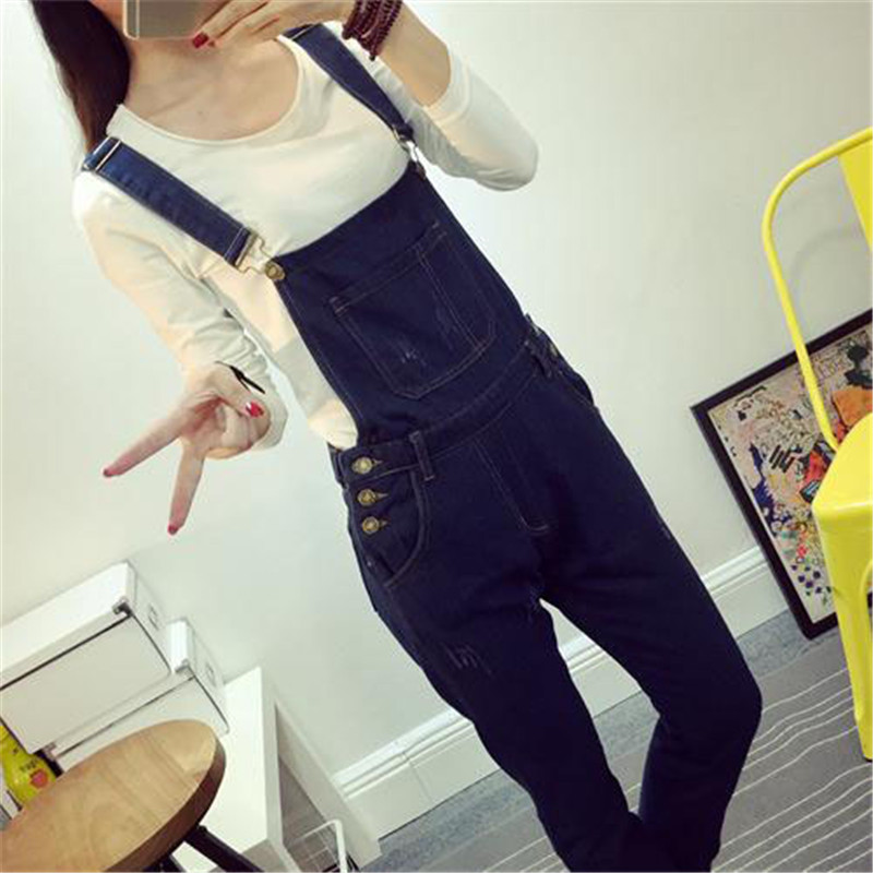 New denim suspenders trousers women trousers autumn loose slim slim students casual pants suspenders jumpsuit (8)