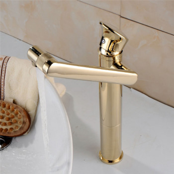 Bathroom Basin Faucets Gold Finished Rotatable Brass Single Lever Crane Tap Deck Mounted Sink Mixer Tap Free Shipping Hot Sale