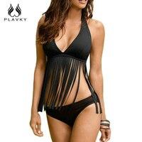 2016 New Sexy Women Swimsuit Tassel Halter Top Bikini Set Summer Push Up Beach Swimwear Swim
