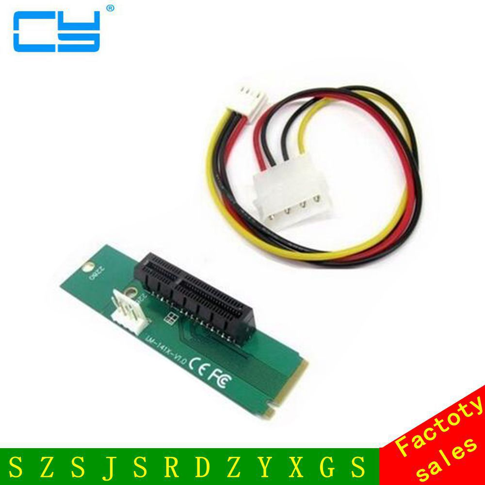 PCIE pci-express PCI Express PCI-E 4X Female x4 to NGFF M.2 M Key Male Adapter Converter Card with Power Cable pci e to