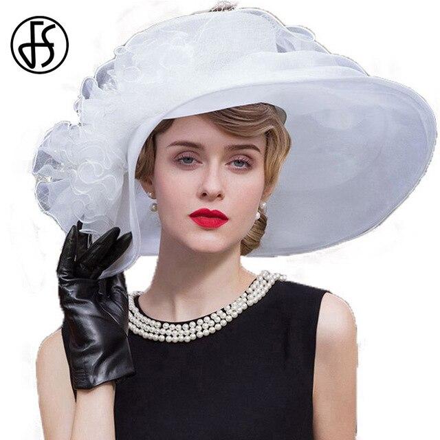FS Elegant White Church Hat Summer Organza Wedding Dress Hats For Women 2017 Fashion Derby Hat