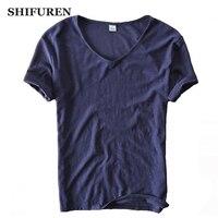 SHIFUREN Summer 2017 Men T Shirts Short Sleeve V Neck Male Top Quality Stretch Tees Solid