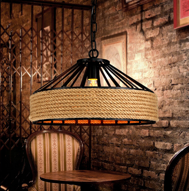 American Country Garden Rope Chandelier Creative Industrial Retro Restaurant Bar Iron and Rope Chandelier Free Shipping creative american personality iron chandelier bar cafe restaurant industry retro rope chandelier free shipping