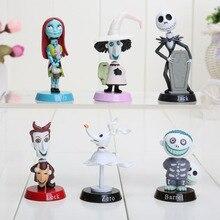 6 pçs/set Anime Pesadelo Antes Do Natal Jack PVC Figuras de Ação boneca de Brinquedo