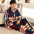 Quality Flannel Pajamas Thicken Sets Sleepwear Coral Fleece Coat and Trousers Casual Comfortable Warm Nightwear