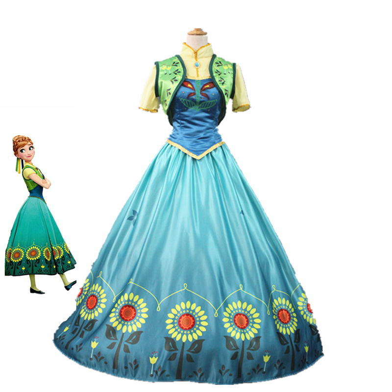 Princess Anna Cosplay Costume Cartoon Halloween Costumes Anna Dress Birthday Party Princess Elsa Anna Costume