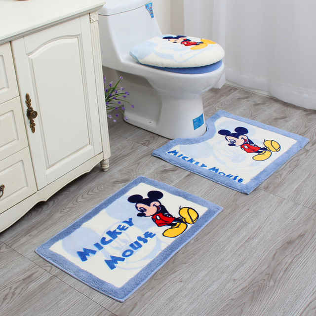 3PCS Classic Gift Thickening Universal Cartoon Mickey Mouse Toilet seat cover O-ring Toilet lid cover Bathroom Mat bedpan Cover
