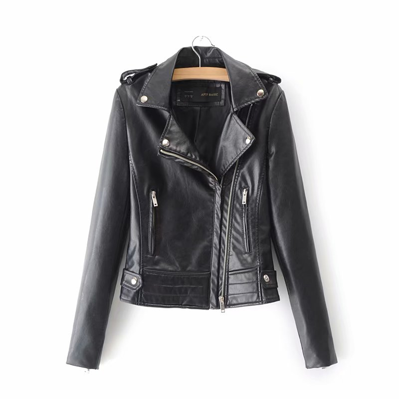 New Spring Women   Leather   Jacket Red Black PU 2019 New Jackets Motorcycle   Leather   Jacket Slim Casual Coat Outwear HOT SALE